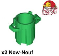 Lego - 2x Container poubelle trash can garbage vert/green 92926 NEUF