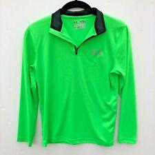 Boys UA Under Armour HeatGear Tech Loose Fit 1/4 Zip Pullover Neon Green Sz. YMD