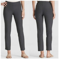 Eileen Fisher Size L Washable Stretch Crepe Viscose Tapered Leg Charcoal Pants F
