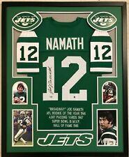 FRAMED NEW YORK JETS JOE NAMATH AUTOGRAPHED SIGNED STAT JERSEY FANATICS COA
