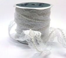 APPROX 1 YARD 20MM WHITE LACE & PEARL EMBELLISHMENT FOR CARDS OR CRAFTS
