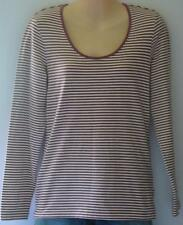 TARGET, BROWN AND WHITE STRIPE LONG SLEEVE T-SHIRT, SIZE 12, STRETCHY