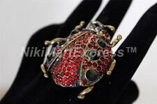 Vintage Gold Large Stretch Red Rhinestone Beetle Cocktail Ring