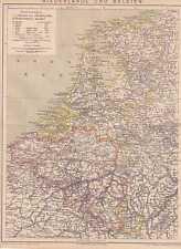 Niederlande Nederland Belgien Belgique LANDKARTE von 1885 Texel Vlieland