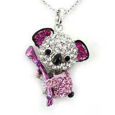 Lovely Little Pink Koala Animal White Gold Plated Czech Crystals Necklace