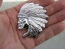~ JEEP CHEROKEE INDIAN CHIEF CAR EMBLEM *New* Chrome Metal Badge