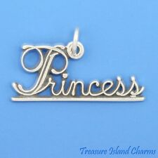 Princess .925 Solid Sterling Silver Charm or Pendant MADE IN USA