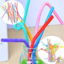 100 PCs flexible en plastique pliable partie pailles jetables à boire multicolor