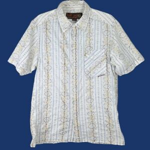 Size Large - PRANA Mens Slim Fit Embroidered Floral Button Shirt