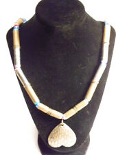 Larger modern metal and bead necklace: brass, teal and silver color