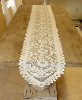 White Vintage Lace Table Runner Floral Wedding Party Dining Room Decor Oval