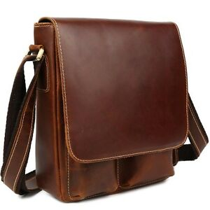 Men Genuine Leather Shoulder Messenger Bag Crossbody Sling Bag Schoolbag SATCHEL