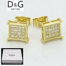 Brilliant 8mm Square*Stud Earring Unisex.Box Dg Mens Gold Sterling Silver 925.Cz