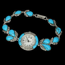 Sterling Silver 925 Genuine Cabochon Turquoise and Marcasite Watch 7.5 Inch #5