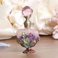 Handmade Vintage Pink Flower Crystal Metal Perfume Bottle Wedding Empty Gift 8ml