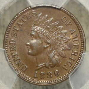 1886 Indian Cent, Type 1, Original Choice Almost Uncirculated PCGS AU-58, Scarce