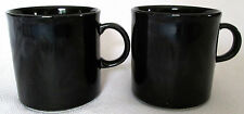 "BLACK PORCELAIN COFFEE MUGS (2) PAIR - 3"" TALL x 3"" WIDE - HOLDS 8 OZ"