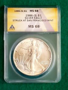Special FYOI 1986-S American Silver Eagle $1 (Struck at S.F. Mint) ANACS MS 68