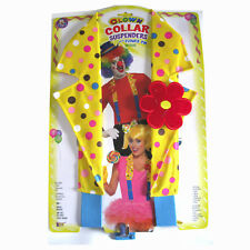 Clown Suspenders & Collar Yellow Polka Dot  Red Flower Adult Costume Accessory