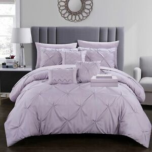10 Piece Mycroft Pinch Pleat Bed In a Bag Comforter Set sheets Pillows Lavender