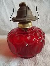 Ruby Red Glass Antique Vintage Oil Lamp Moon & Stars Design Base 5x5