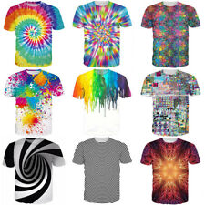 Hypnosis Tie-Dye Print Womens/Mens Colorful Funny 3D Casual T-Shirt Short Sleeve