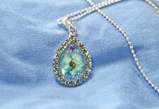 HAND MADE JEWELLERY, REAL FLOWERS  PENDANT (TEAR-DROP)