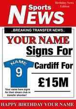 A5 Personalised Cardiff Football Greeting Birthday Card any name , age value