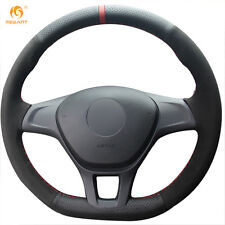 Black Leather Suede Steering Wheel Cover for VW Golf 7 Mk7 Polo 2014-2017 #DZ81