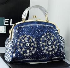 denim big rhinestone diamond one shoulder women's handbag fashion bags
