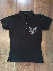 BLACK POLO TOP S LYLE & SCOTT GIRLS SUMMER SPORT HOLIDAYS CASUAL TOWIE