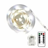 CCILAND Battery Operated Led Strip Lights White with Remote, 8 Modes, Dimmable