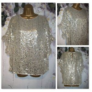 RIVER ISLAND OCCASION TOP M 12/14/16, Stunning gold Sequin Party going out Tunic