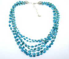 DTR JAY KING 7 Strand Stack Blue TURQUOISE Sterling Silver HEISHI Bead Necklace
