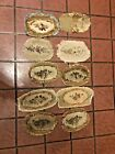 Large Group Lot 10-pcs Antique French Tapestry Fragments 17th 18th  19th C     2