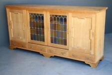 Provincial Scandinavian mid century blonde oak sideboard bookcase carved buffet