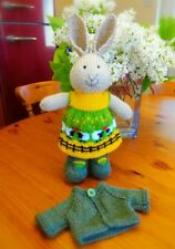 Girl Bunny with Cardigan - Hand Knitted Soft Toy - New Custom Crafted