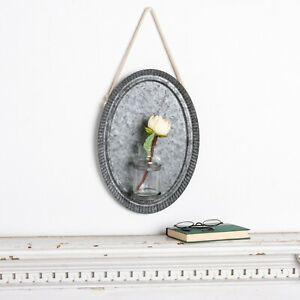Hanging Tin Wall Plaque with Glass Vase