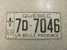 1969 QUEBEC LICENSE PLATE original paint FREE SHIPPING