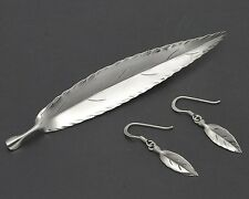 Stuart Nye Hand Wrought Sterling Silver Willow Leaf Pin & Dangle Earrings Set