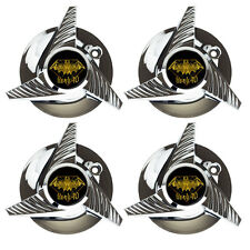 4PC CHROME WHEEL CENTER CAPS FOR KNOCKOFF CARVING HEAD 40 SPINNER WHEELS SET