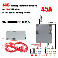 14S 45A 50.4V Li-ion Lithium Batterie Cell Protection BMS PCB Board mit Balance