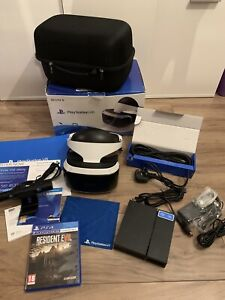 Boxed Sony PlayStation VR Headset and V2 Camera Bundle with resident evil game