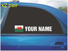 YOUR NAME RALLY RACE CAR WINDOW STICKERS WALES WELSCH FLAG WHITE X2 ALL COLOURS