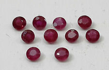1.51cts 10pc Natural Ruby Lot Round Beautiful Permanent Dark Red Color 3.0mm