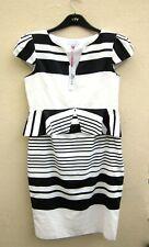 Per Una Black & White Striped Dress Size 14 Fully Lined with Peplum Waist