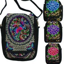Fair Trade Bohemian Gypsy Floral Lotus Embroidered Shoulder Passport Small Bag