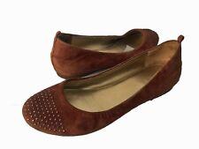J CREW Women's Rust Suede Rhinestone Studded Ballet Flats Size 7