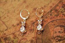 AamiraA 18K Gold Plated Cat Zircon AAA+ Designer Brass Earrings Dangles