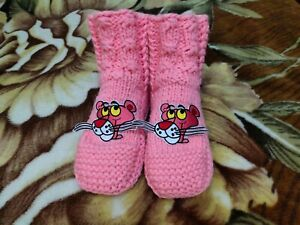 Hand Knitted Womens Slippers Boots Warm Socks, Soft Wool with Pink Panther